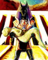 Anubis carrying Osiris by Mitchellnolte