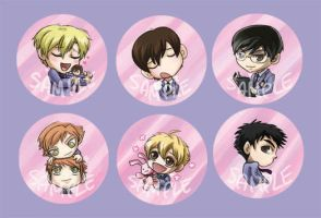 Ouran Host Club Buttons by perishing-twinkie