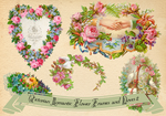 Victorian Frames - Wreaths with doves and flowers2 by rosepeonie