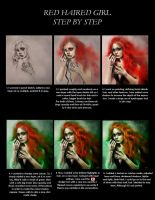Red Haired Girl - Step by step by kittrose