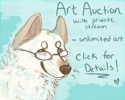 Art Auction With Private Stream: 1 hr left! by whitepup