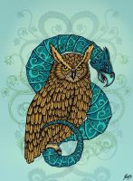 Owl and Basilisk by dragonhope
