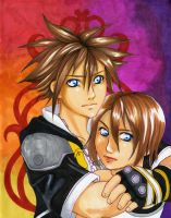 KINGDOM HEARTS Sora and Kairi by LittleMissSarah