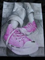 Pink Converses by ohmeohmy0530