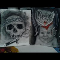 skull and Bat with baby by fbatman666