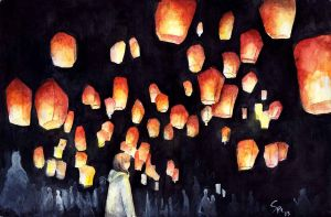Sky lanterns by phuongsupercat