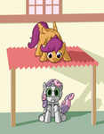Scootaloo and Sweetie Bot by FiddleArts