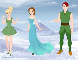 Tinker Bell, Wendy and Peter Pan by VampKissLJ