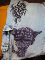 Demon and tribal on my shorts by Proteusz