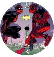 Deadpool Spider-man clock by AnnaMariaBryant