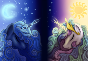 Princess Luna and Celestia - Wallpaper Version by Ellen124