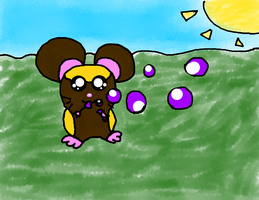 A random Hamham playing with colored bubbles by DFX4509B