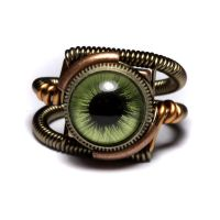 Steampunk Green Eye Ring 2 by CatherinetteRings