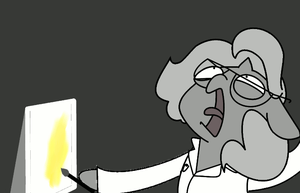 Science Woona screams at yellow paint by FriskyHyena