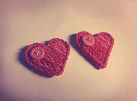 Knitted hearts [Polymer clay] by polyansky