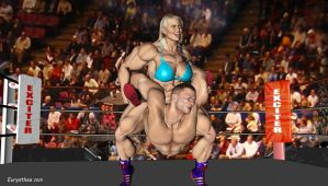 Sandy wrestles with a heavyweight wrestler 61 by eurysthee