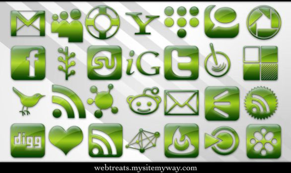 Green Jelly Social Media by WebTreatsETC