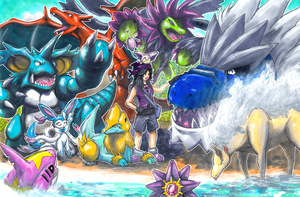 Pokemon Team Commission: Shinies By The Beach by matsuyama-takeshi