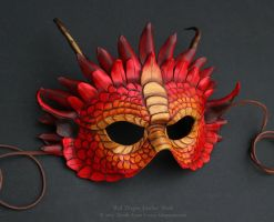 Red Dragon Leather Mask by windfalcon