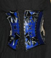 hard leather corset burlesque back view by Lagueuse
