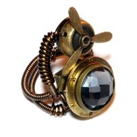 Steampunk Ring - Black diamond glass and propeller by CatherinetteRings