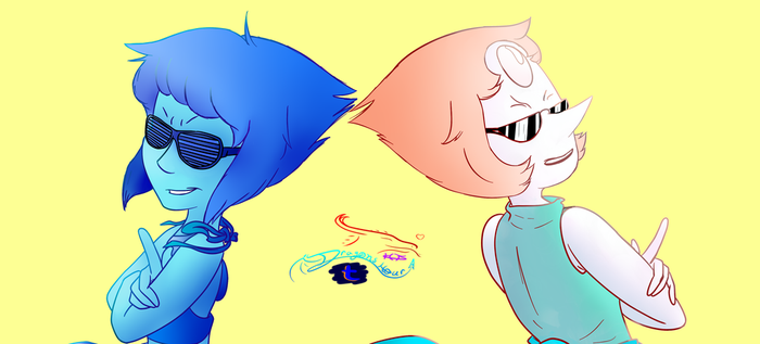 oh yknow   Lapis and Pearl as bad*sses XD by BlackStorm777