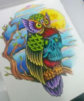 Neotraditional Tattoo Owl Design by iluv2rock99