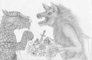 The dragon and the werewolf by Dwaoviel