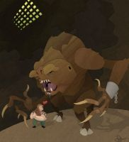 Rancor and his Keeper by WonderDookie