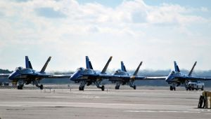 Blue Angels F/A-18 Takeoff in Delta Formation by fosspathei
