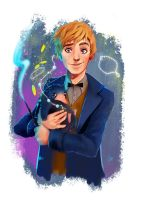 Newt and the Niffler by IvoryBlack91