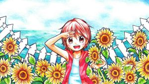 Sunflower Field by MikiClover