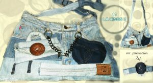 denim bag with customized pockets lol by puzzledpixel