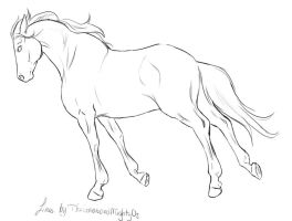 Free Cantering Lineart by TheGreatandMightyOz