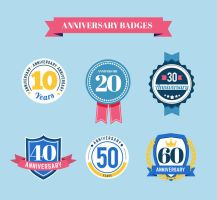 6 Creative Anniversary Badge Vector by FreeIconsdownload