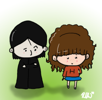 Teeny Tiny Snape n' Granger by MorphicLunatic