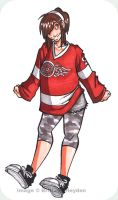 Girl in a Red Wings Jersey by crackhobbit