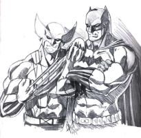 Wolverine and Batman Sketch by jey2dworld
