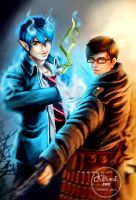 Ao no Exorcist - Okumura Rin and Yukio by kibumie-art