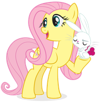 Fluttershy and Angel Bunny by juniberries