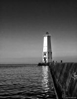 Frankfort Lighthouse B and W by PixelPerfectPhotog