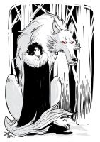 Jon Snow and Ghost by yllya