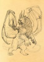 Winged manticore sketch by Anisis