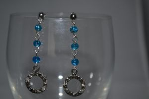 Blue Glass Dangle Earrings with Charm - Stargate by lunnybunny1