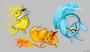 Eevee Evolutions: First Wave by Enu