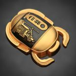 Black/Satin Gold Egyptian Scarab Geocoin by cwaddell
