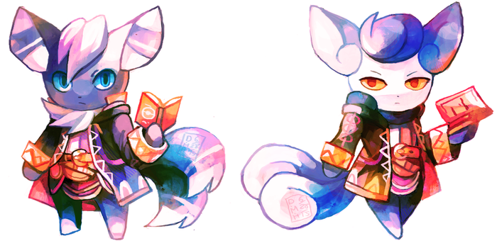 Meowstic Robins by LadyKuki