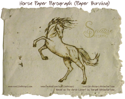 Horse Paper Pyrograph (Paper Burning) by snazzie-designz