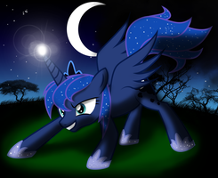 Luna . Fighting with the night by SergRus