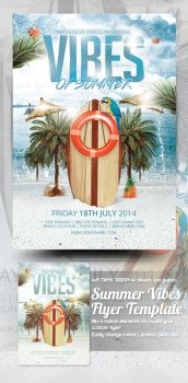 Summer Vibes Flyer Template Preview by mrkra
